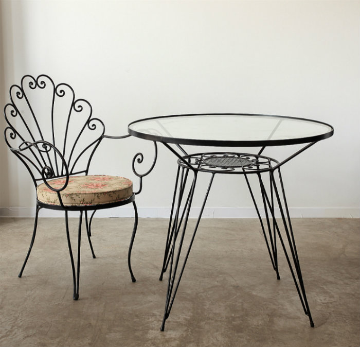 Clematis fer forge table by topos hub furniture lighting for Table demi lune fer forge